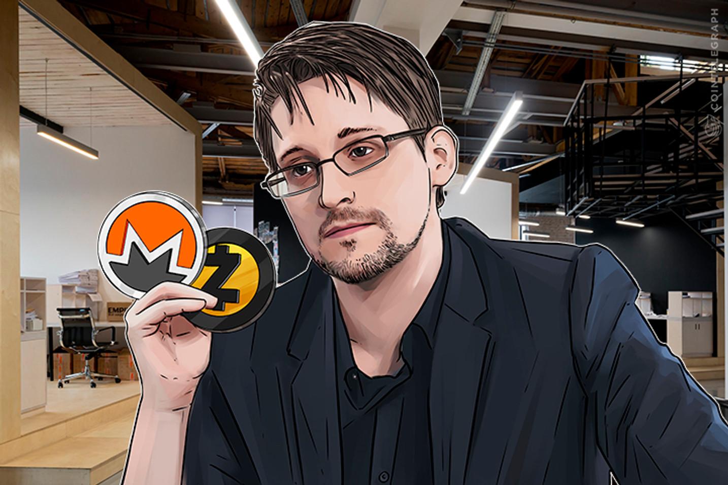 Snowden se aventura em opinião sobre criptomoedas no Twitter