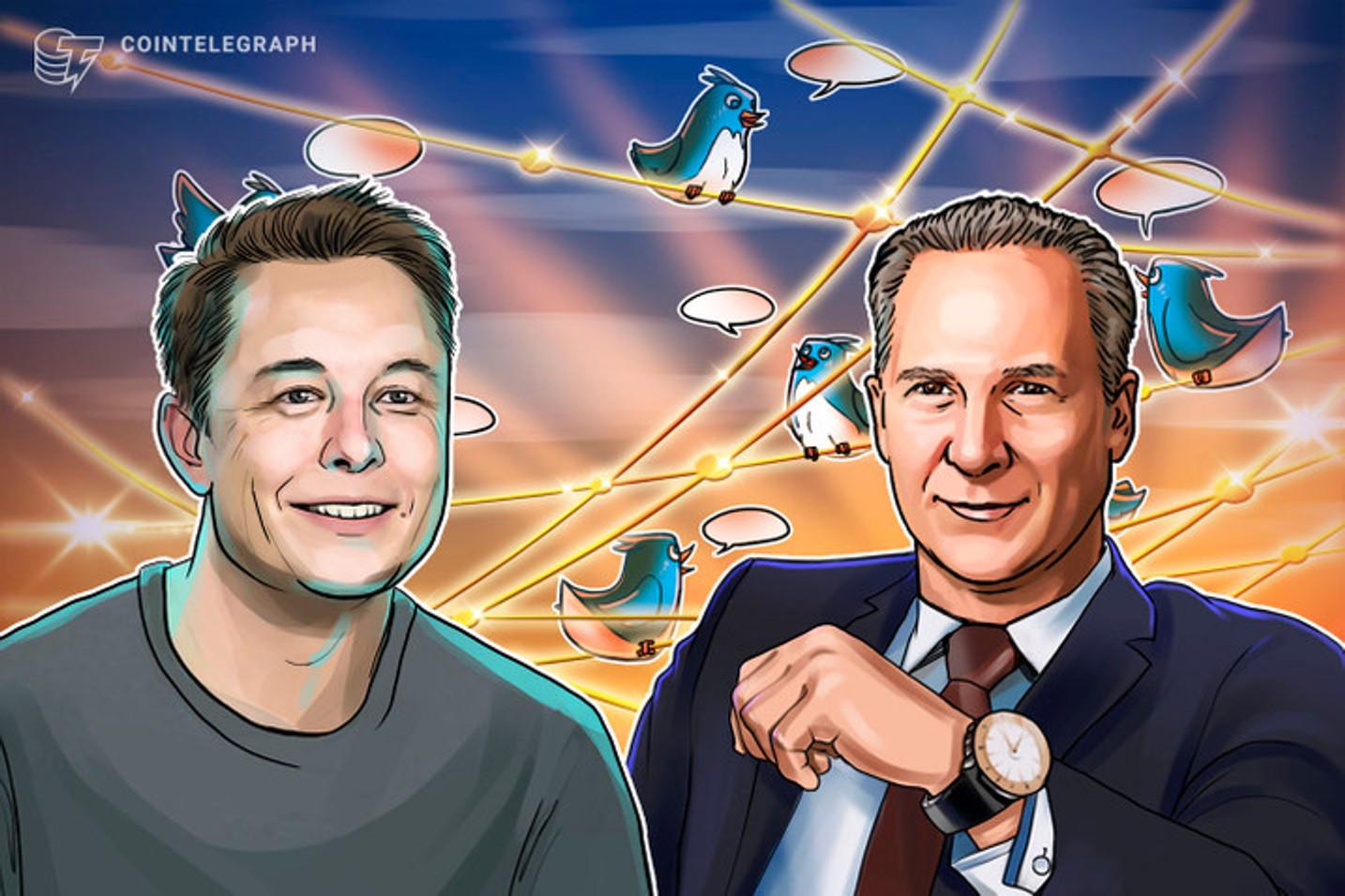 Elon Musk diz que BTC e ETH tem preços 'altos' enquanto 'alfineta' Peter Schiff