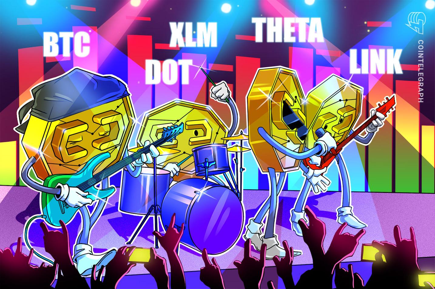 5 criptomoedas para ficar de olho nessa semana: BTC, DOT, LINK, XLM, THETA