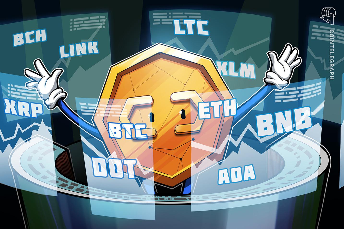 Análise de preço 3/3: BTC, ETH, ADA, BNB, DOT, XRP, LTC, LINK,  BCH, XLM