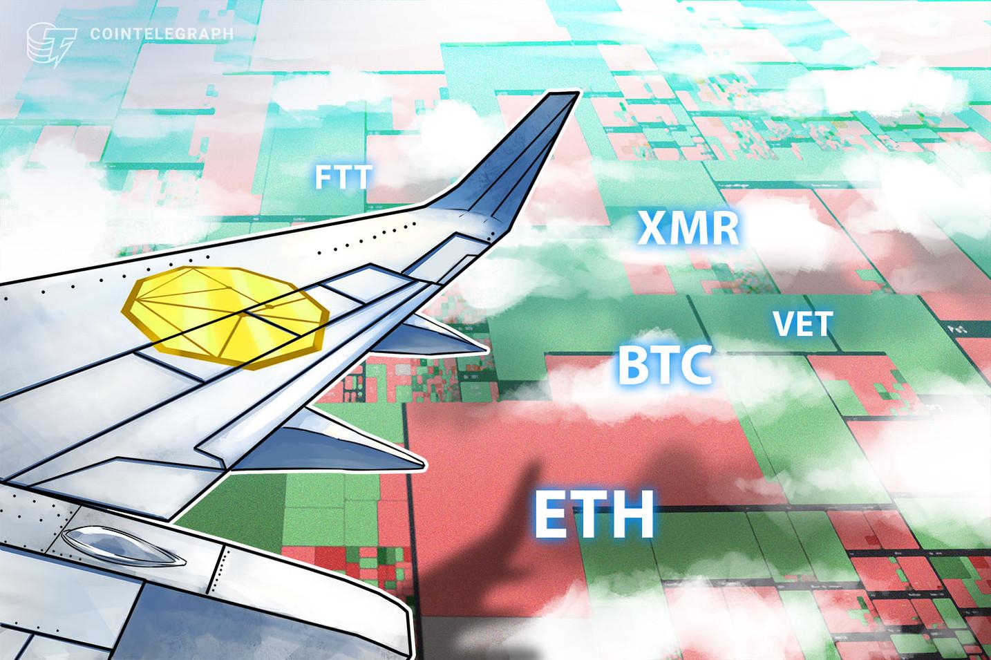 Top 5 cryptocurrencies to watch this week: BTC, ETH, VET, XMR, FTT