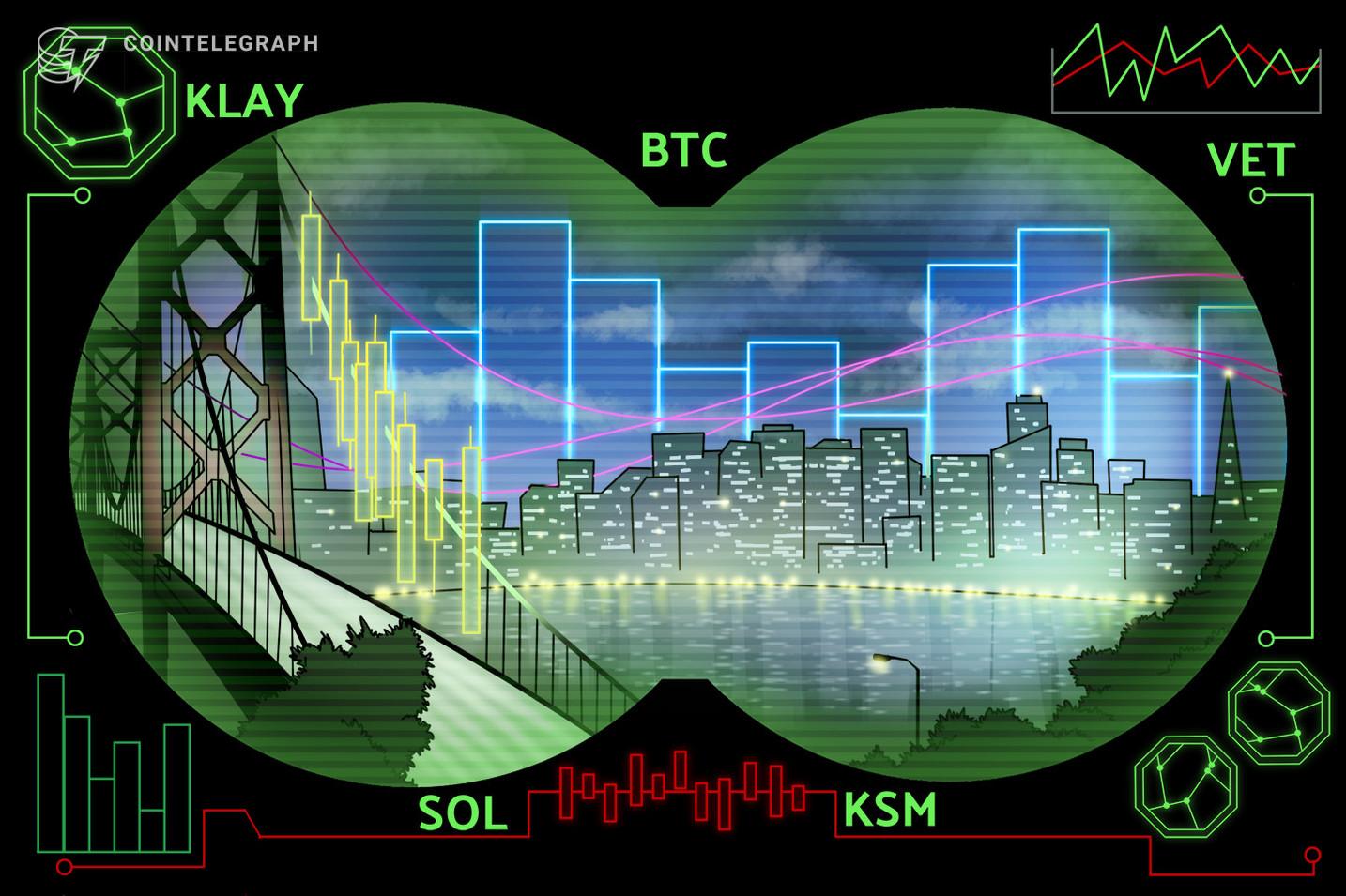 As 5 principais criptomoedas para observar esta semana: BTC, KLAY, VET, SOL, KSM
