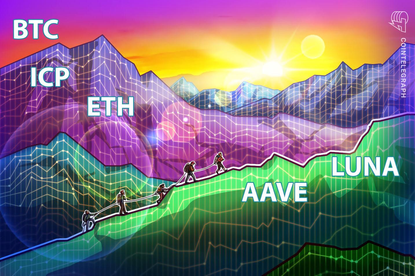 Top 5 criptomoedas para ficar de olho nesta semana: BTC, ETH, ICP, AAVE, LUNA