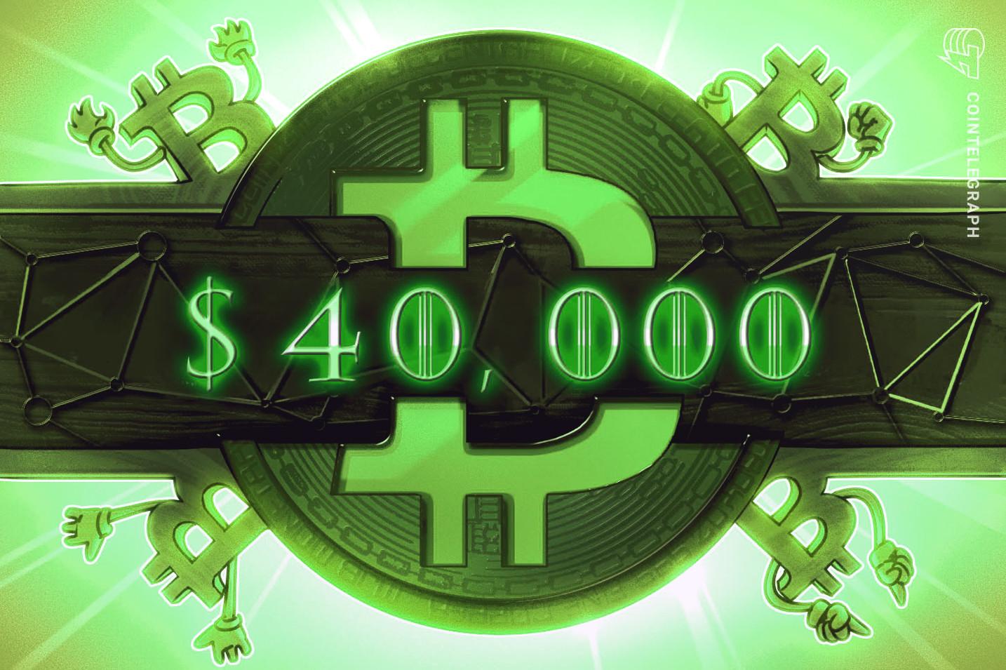 """Bitcoin alcanza los USD 40,000 tras 6 semanas, pero la actividad on-chain es """"algo bajista"""""""