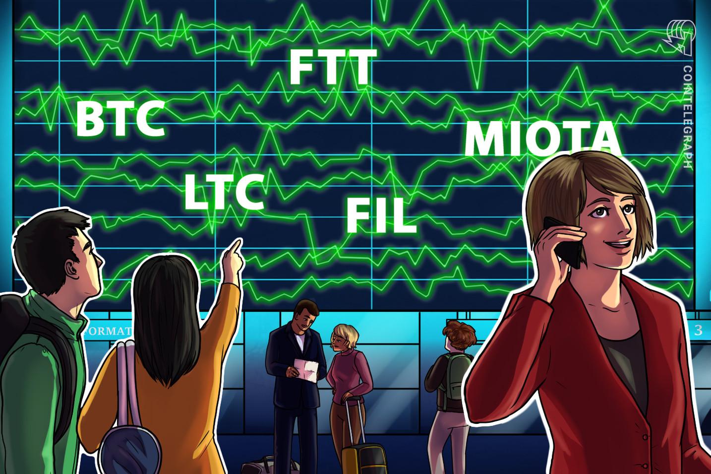 Top 5 criptomoedas para ficar de olho esta semana: BTC, LTC, FIL, FTT, MIOTA