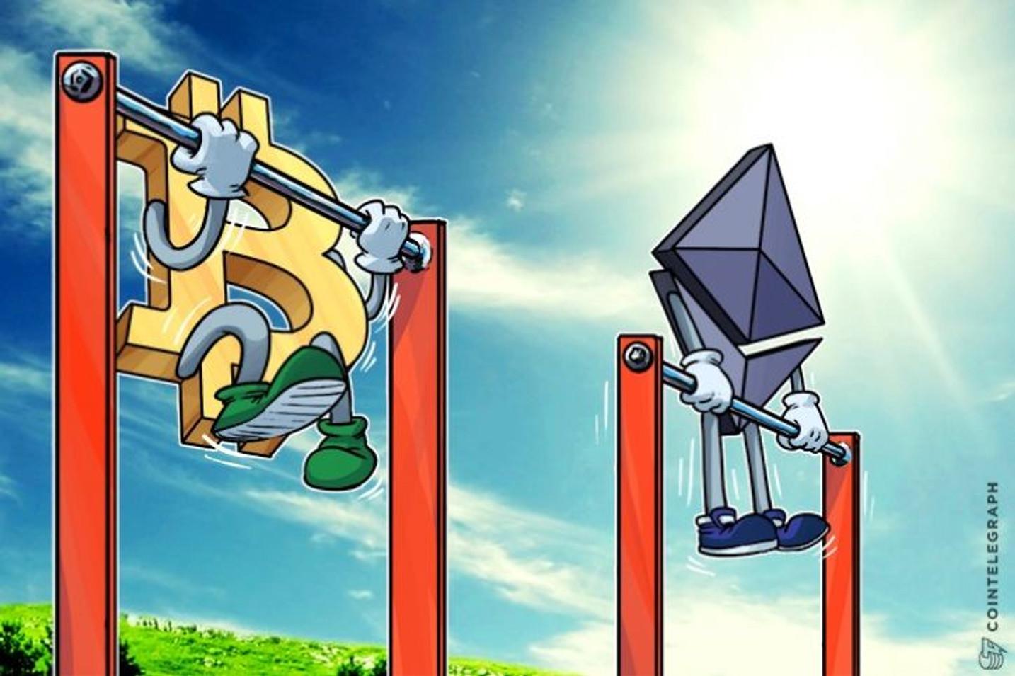 Bitkoinova tržišna dominacija opada, dok ethereum raste