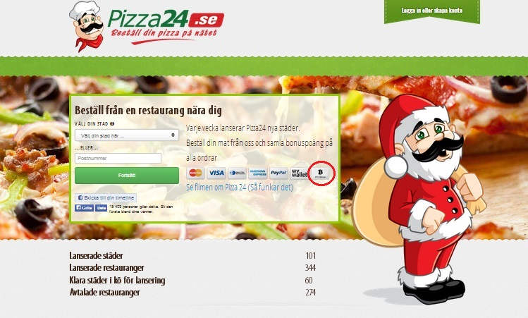 Scandinavian pizza delivery service accepts Bitcoins in three countries