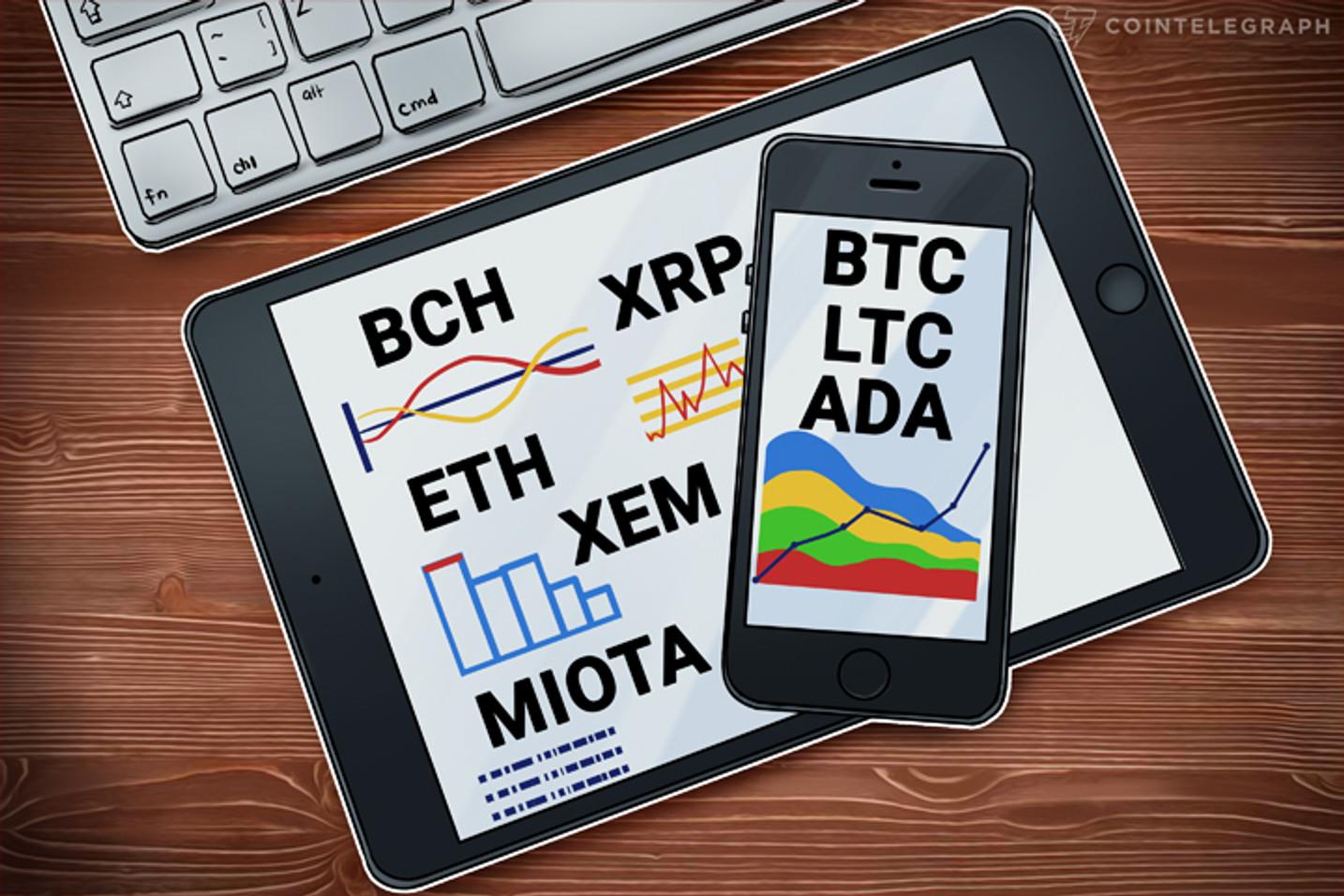 18年1月4日チャート分析・ビットコイン、イーサ、リップル、ビットコインキャッシュ、IOTA、ライトコイン、NEM、カルダノ