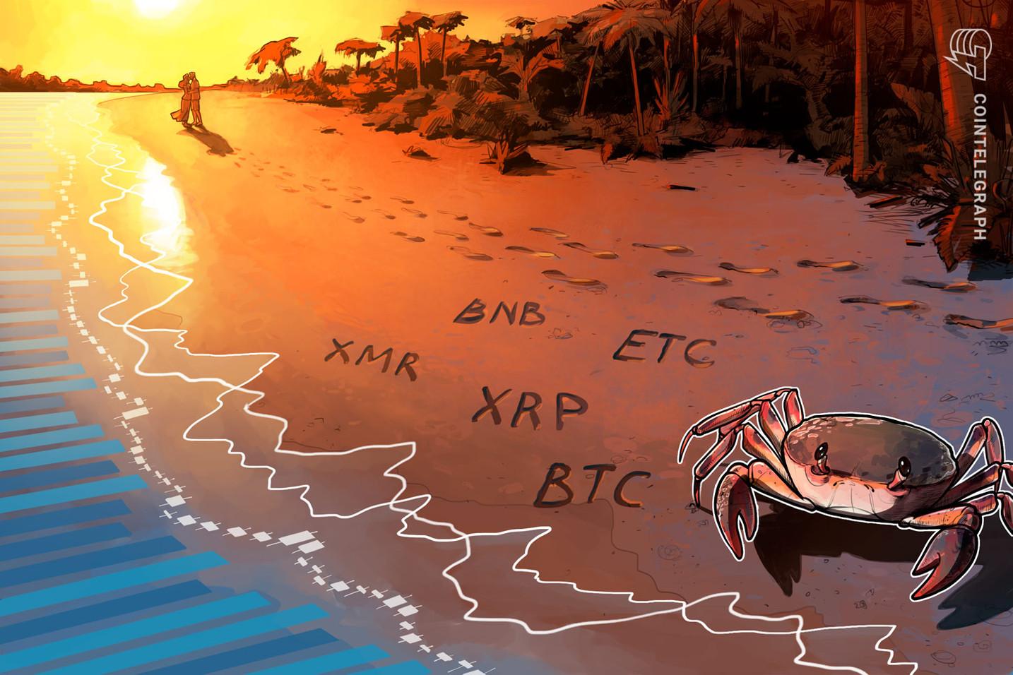Top 5 das criptomoedas: XMR, BTC, BNB, ETC e XRP