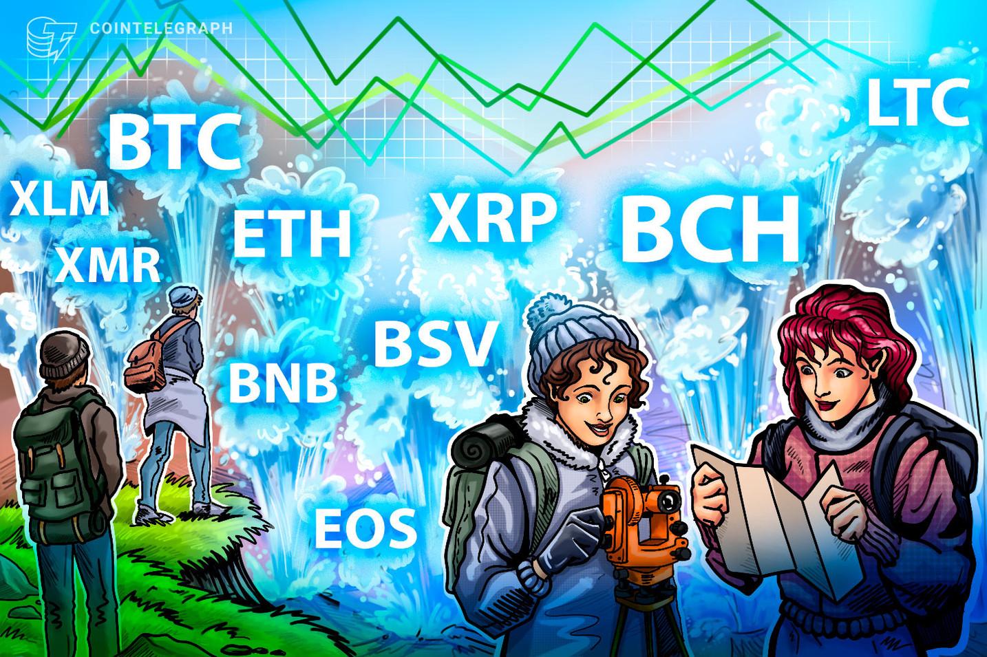 Análise de Preço 23/08: BTC, ETH, XRP, BCH, LTC, BNB, EOS, BSV, XMR, XLM