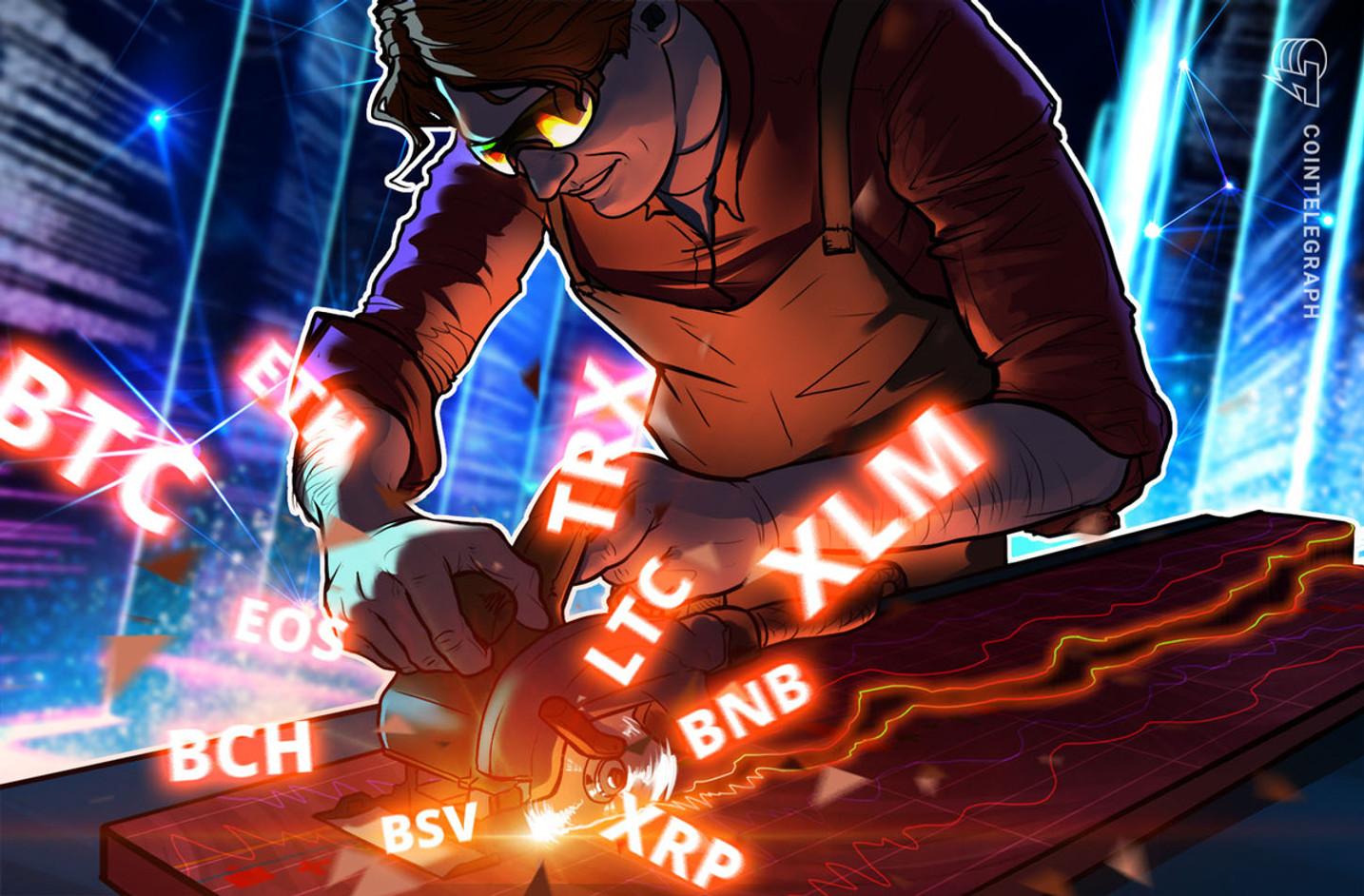 Análisis de Precios 14/10: BTC, ETH, XRP, BCH, LTC, EOS, BNB, BSV, XLM, TRX