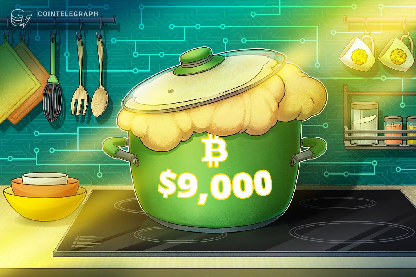 La tasa de hash pasa el récord de 150 quintillones a la vez que el precio de Bitcoin recupera la marca de los 9,000 dólares