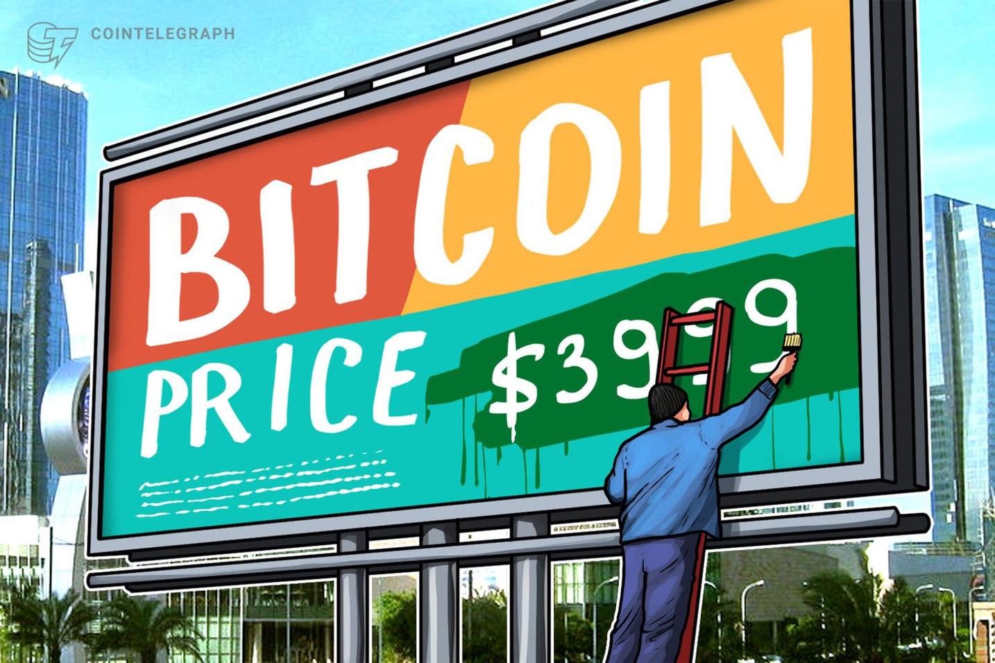 ビットコイン一時4000ドル回復 |仮想通貨相場の上昇要因 JPMコイン説に批判殺到