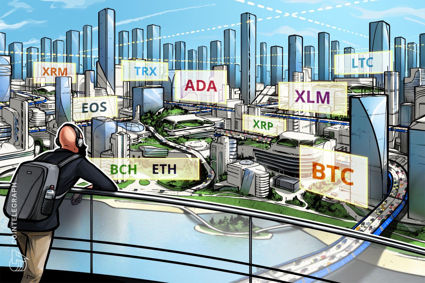 Bitcoin, Ethereum, Ripple, Bitcoin Cash, EOS, Stellar, Litecoin, Cardano, Monero, TRON: Análise de preços, 24 de outubro