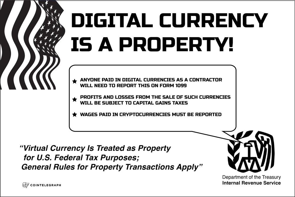 IRS will tax cryptocoins as property, not currency