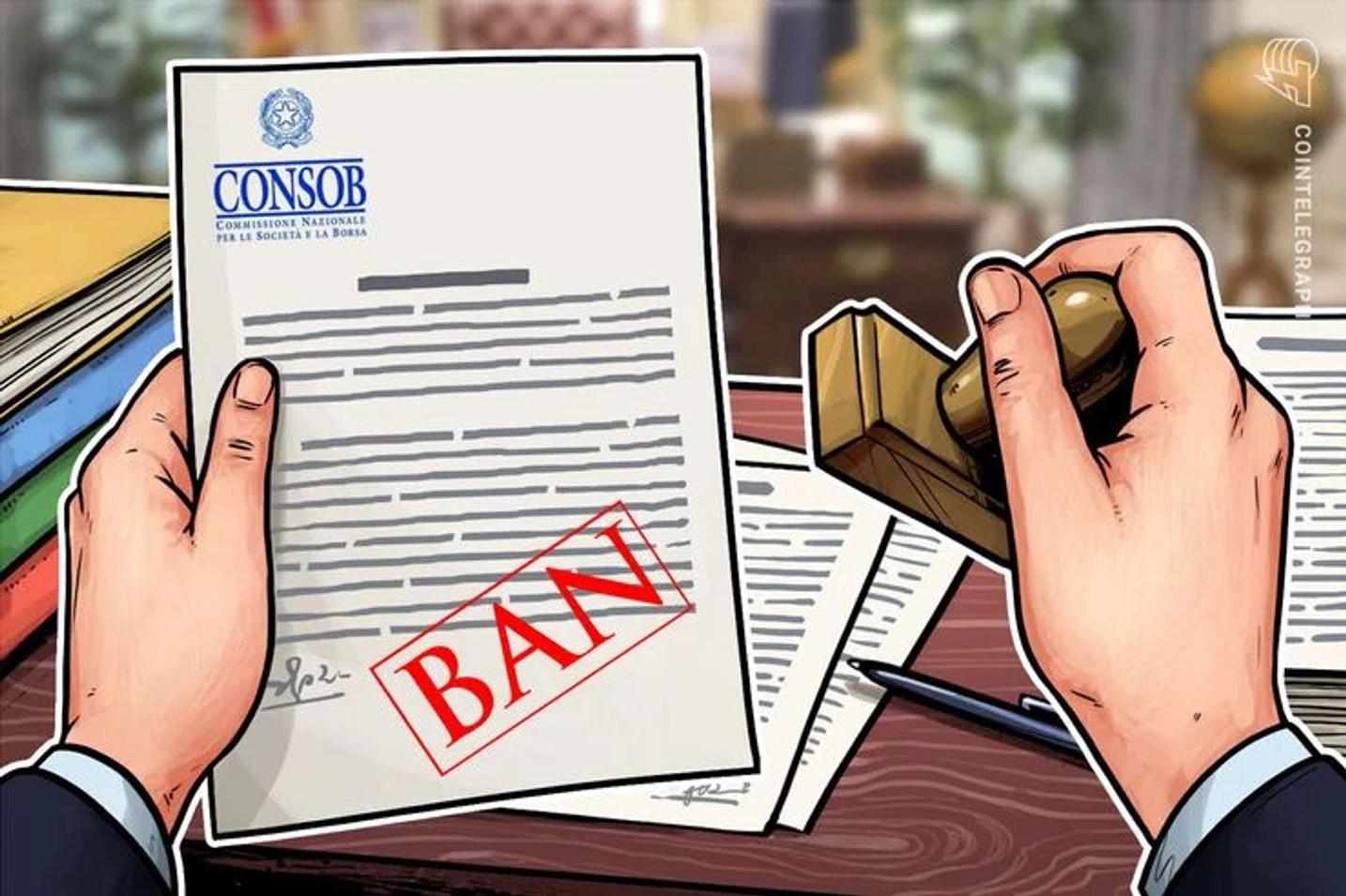 La CONSOB sospende il servizio d'investimento Tessline e la criptovaluta Liracoin