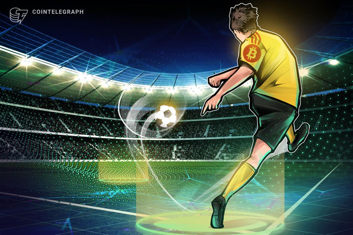 仮想通貨ビットコインのロゴ、プレミアリーグ所属チームのユニフォームに