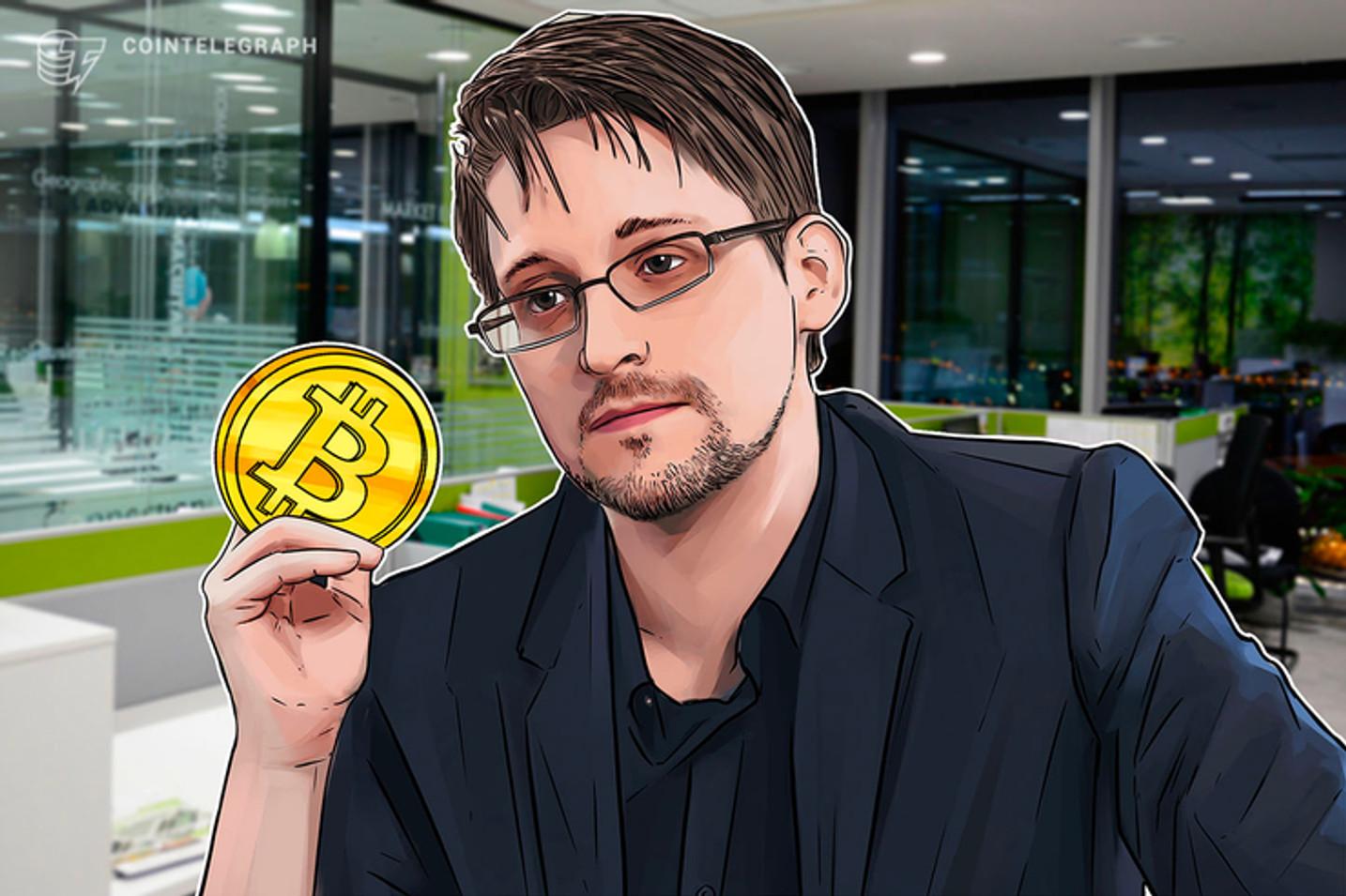 Em evento sobre criptomoedas, Edward Snowden diz que 'privacidade do Bitcoin é fraca'