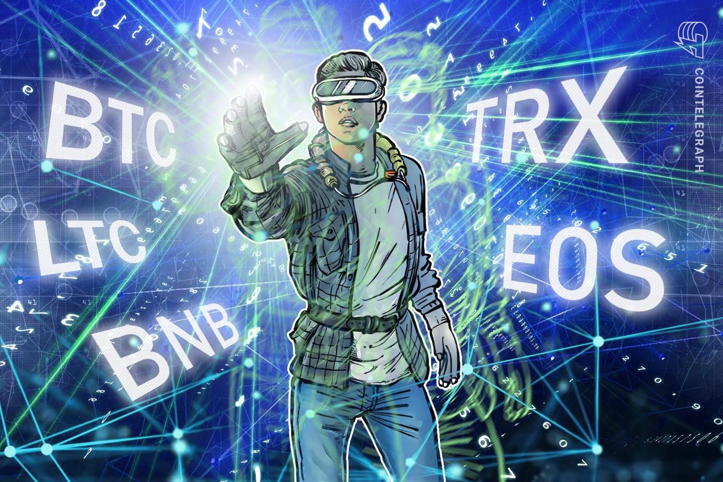 Übersicht über die Top-5-Krypto-Performer: EOS, Binance Coin, TRON, Litecoin, Bitcoin