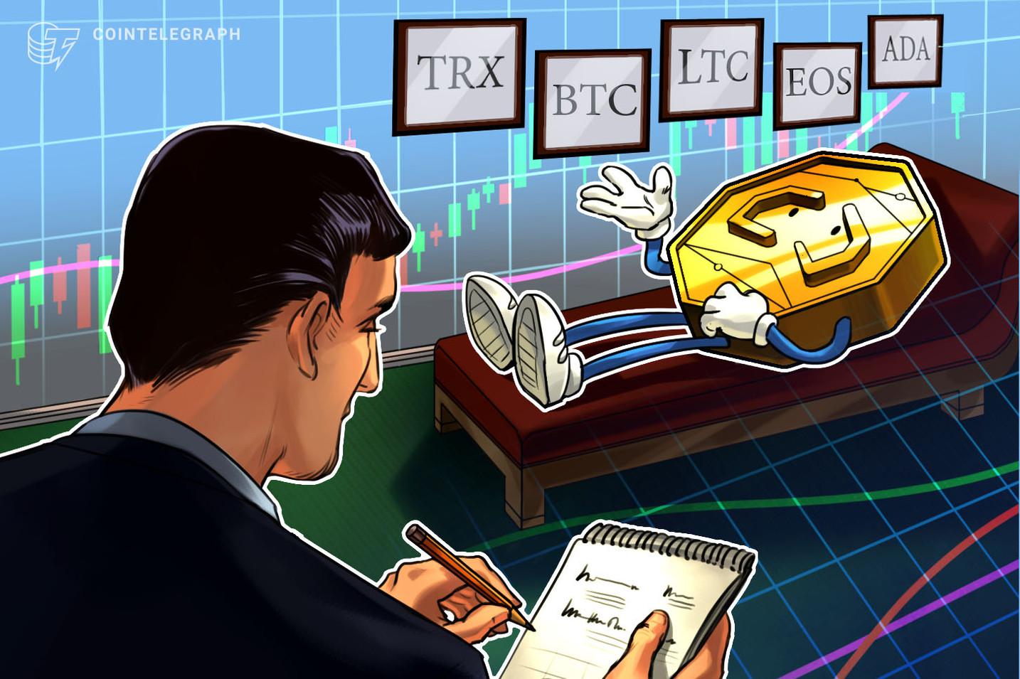 主要仮想通貨5銘柄の価格分析:トロン、ビットコイン、ライトコイン、EOS、カルダノの今後の値動きは?