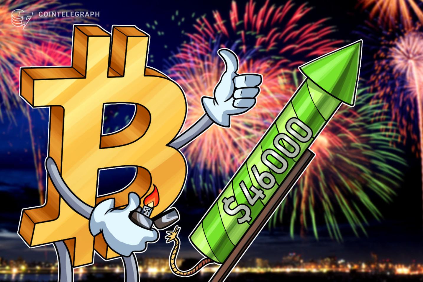 Bitcoin atinge US$ 46.794 ao mesmo tempo que altcoins e ações atingem novas máximas