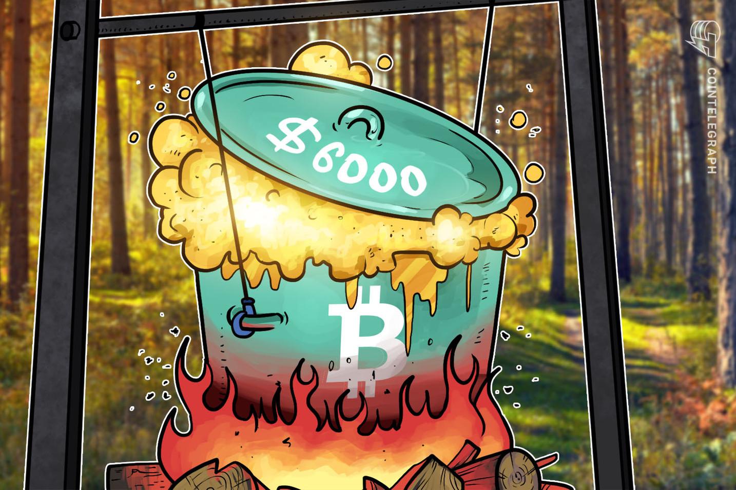 Bitcoin rompe a barreira dos US$ 6.000 e índice de ações de futuros dos EUA abrem em baixa