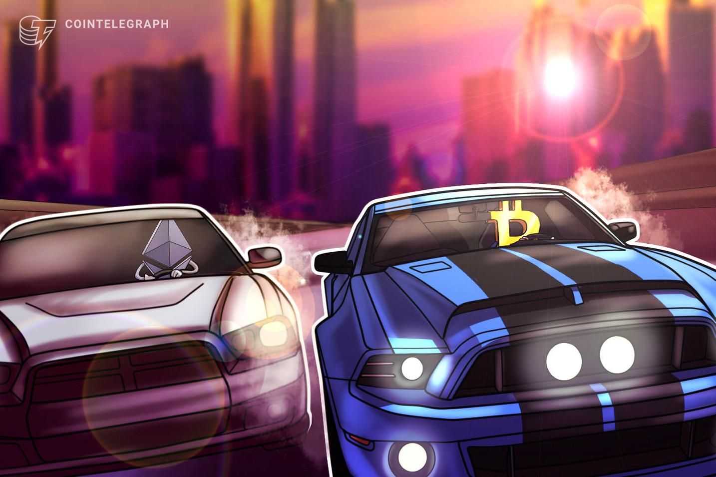 Ethereum agora rivaliza com Bitcoin em valor de transferências diárias