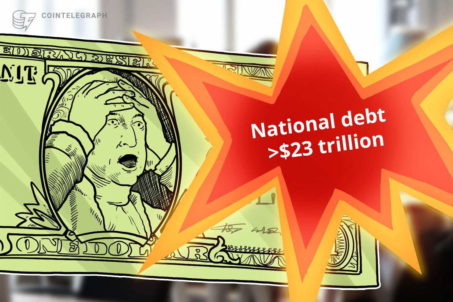 La deuda nacional de Estados Unidos alcanza los 23 billones, más de USD 1 millón por bitcoin