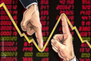 ビットコインは1万ドル目前に迫ったが下落、仮想通貨市場は350億ドルを失う