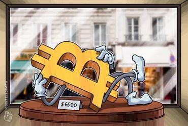 Bitcoin ancora a quota 6.500$, volatilità ai minimi, perdite per le altre monete