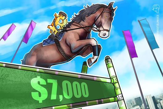 Bitcoin Price Breaks $7,000 as US Stock Market Sees Minor Uptick