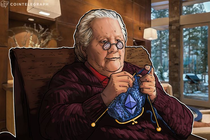 An old woman knitting a wallet with Ethereum logo on it
