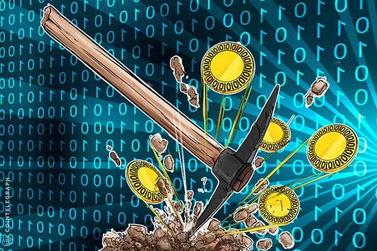 Bitcoin mining process, a pick and Bitcoins
