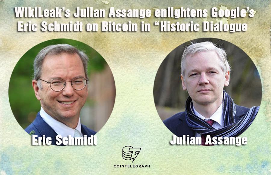 """WikiLeak's Julian Assange enlightens Google's Eric Schmidt on Bitcoin in """"Historic Dialogue"""""""