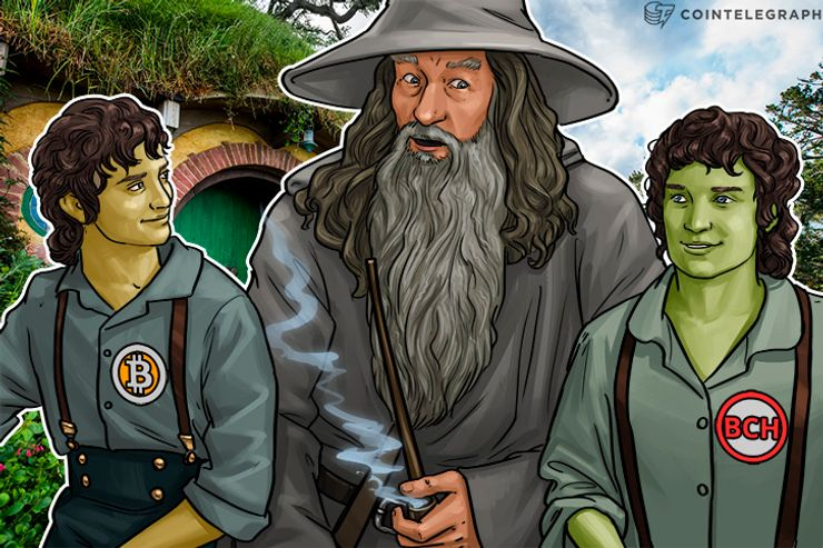 Gandalf with Bitcoin and Bitcoin Cash as hobbits