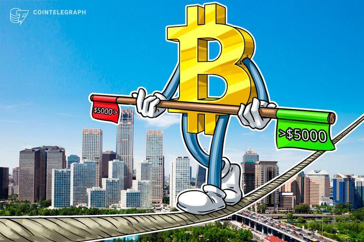 Bitcoin cae por debajo de USD 5.000 mientras que la tendencia del criptomercado se invierte ligeramente hacia la baja