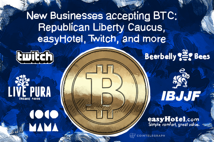 New Businesses accepting BTC: Republican Liberty Caucus, easyHotel, Twitch, and more