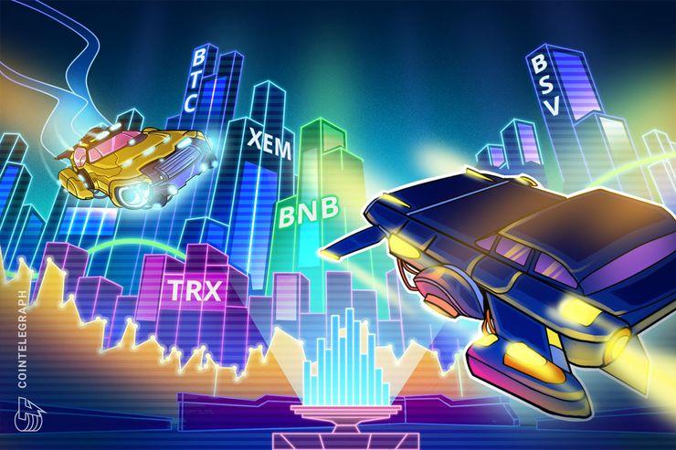 Übersicht der Top 5 Krypto Performer: BSV, XEM, TRX, BNB, BTC