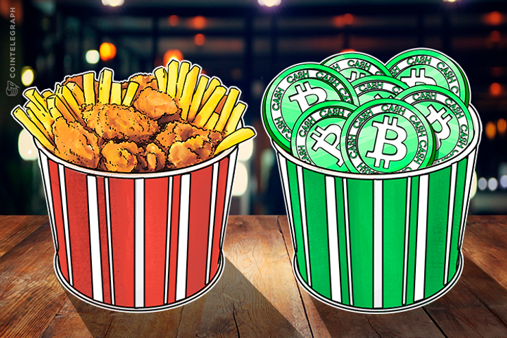 A basket with fast food and a basket with Bitcoin Cash coins