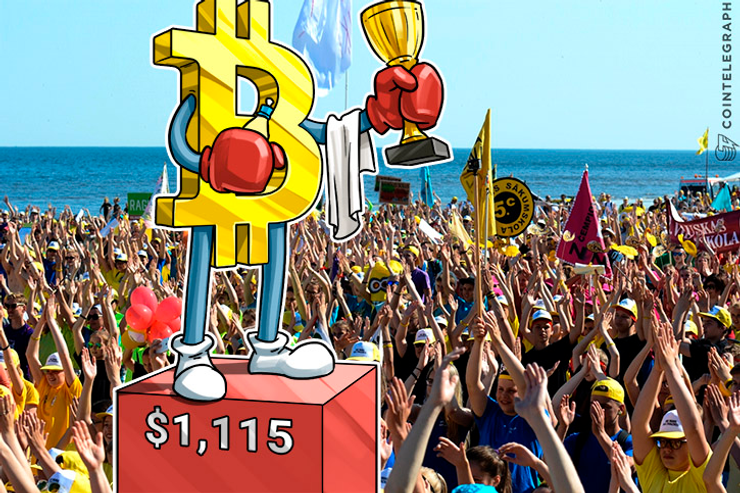 Bitcoin Price Surpasses $1,115, Recovers from Scaling Debate & PBoC Talks
