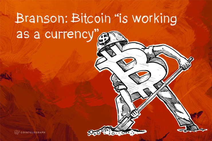"Branson: Bitcoin ""is working as a currency"""