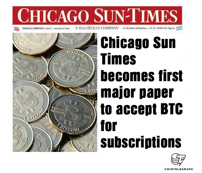 Chicago Sun-Times becomes first major paper to accept BTC for subscriptions