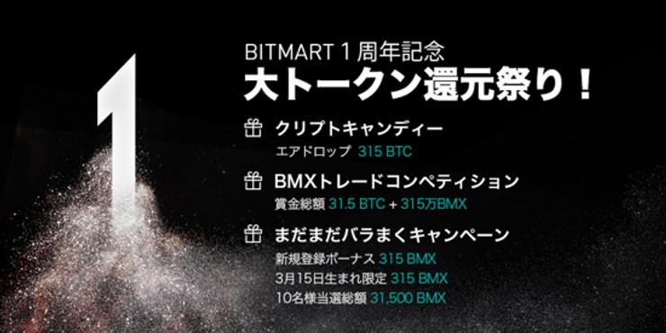 BitMart取引所 3月15日で生誕1周年迎える。アニバーサリーイベントを公開 - 315 BTCの大型エアドロップ-