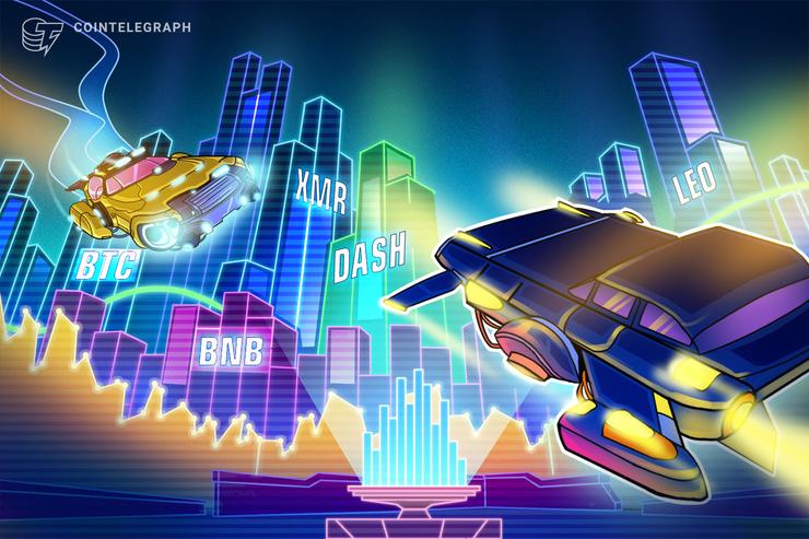 Top 5 performances nas criptomoedas: BNB, BTC, XMR, LEO, DASH