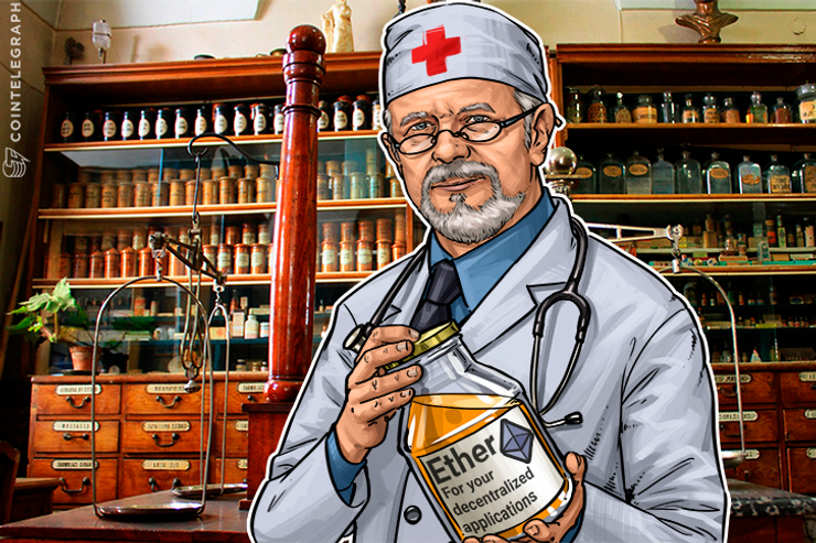 A doctor with a bottle of Ether
