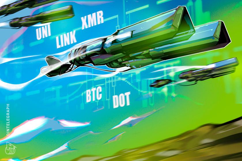Top 5 cryptocurrencies to watch this week: BTC, DOT, UNI, LINK, XMR